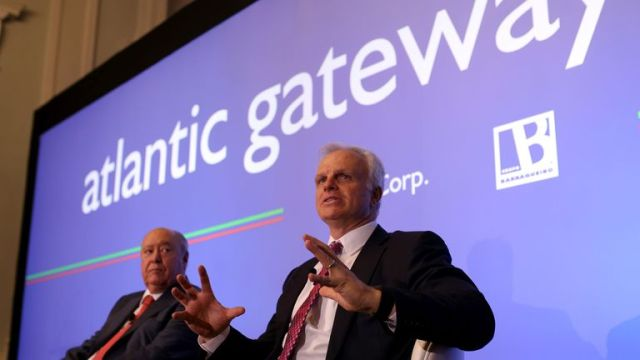 In this June 24, 2015 file photo, American-Brazilian businessman David Neeleman, right, talks to journalists during a join news conference with his partner Portuguese businessman Humberto Pedrosa, in Lisbon. Pic: AP