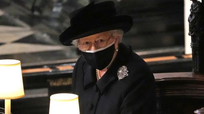 Queen Elizabeth II during the funeral of the Duke of Edinburgh in St George's Chapel, Windsor Castle, Berkshire. Picture date: Saturday April 17, 2021.