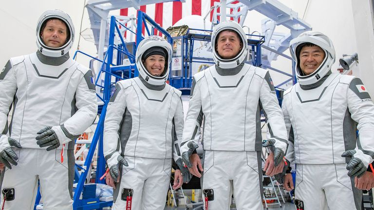 The crew for the third astronaut launch of their SpaceX to the International Space Station in training in California