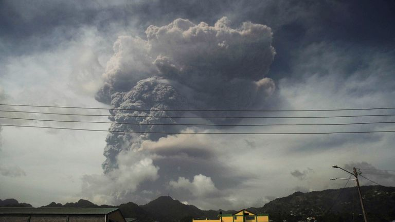 The volcano erupted on Friday