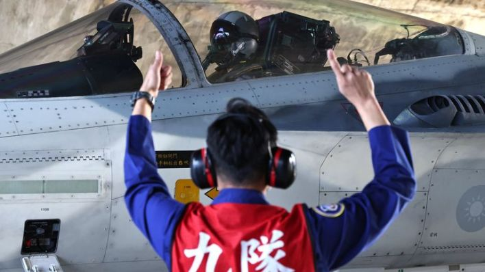 A pilot prepares to take off on a F-CK-1 Ching-kuo IDF at an Air Force base in Tainan