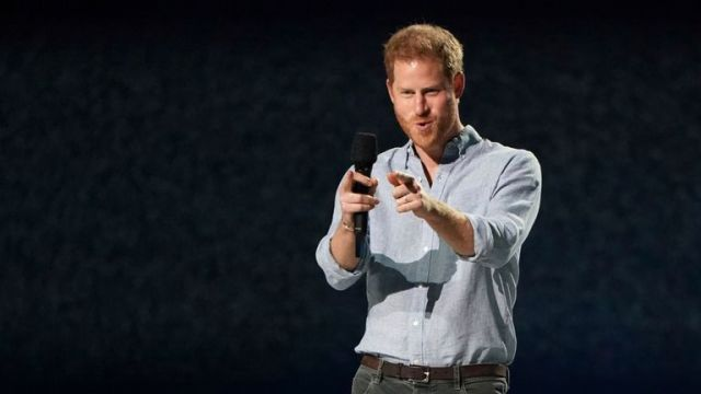 "Prince Harry, Duke of Sussex speaks at ""Vax Live: The Concert to Reunite the World"" on Sunday"