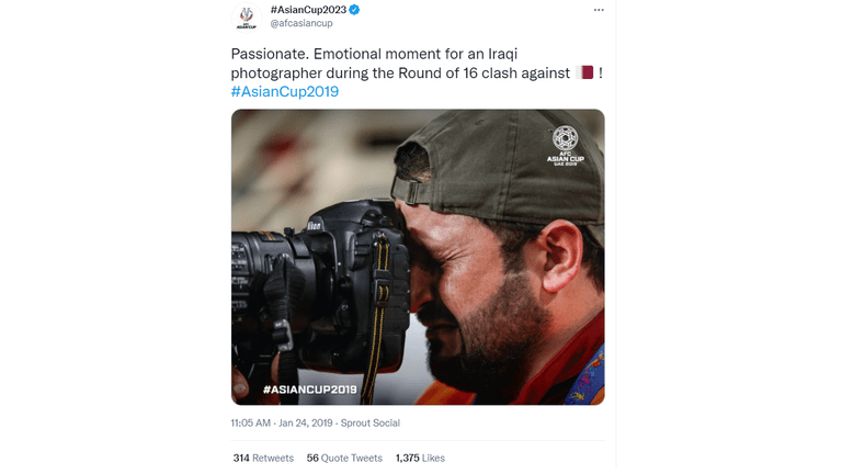 The photo was posted on the Asian Cup soccer tournament Twitter page in 2019.