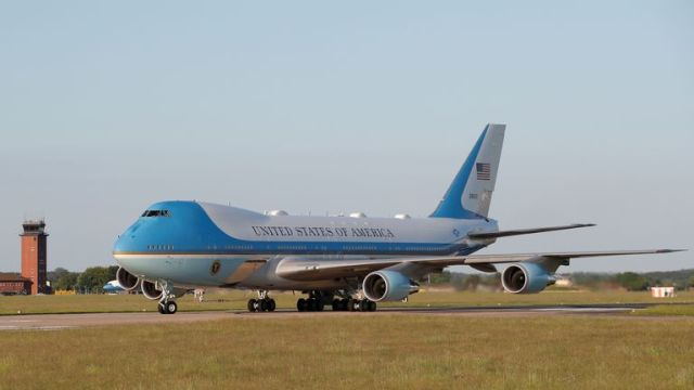 Air Force One carrying U.S. President Joe Biden lands at RAF (Royal Air Force) Mildenhall as he arrives ahead of the G7 Summit, near Mildenhall, Suffolk, Britain, June 9, 2021. REUTERS/Andrew Boyers