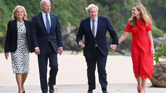 First Lady Jill Biden, US President Joe Biden, Prime Minister Boris Johnson and Carrie Johnson walk outside Carbis Bay Hotel, Cornwall