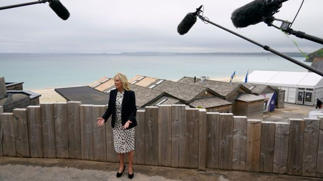 First lady Jill Biden speaks with reporters after visiting with Carrie Johnson. Pic: AP