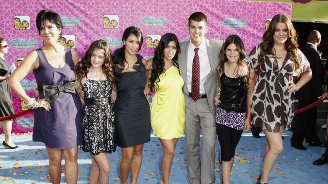 The Kardashians - Kris Jenner, Kylie Jenner, Kim Kardashian West, Kourtney Kardashian, Robert Kardashian, Kendall Jenner and Khloe Kardashian. Pic: eter Brooker/Shutterstock