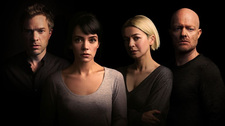 (L-R) Hadley Fraser, Lily Allen, Julia Chan, Jake Wood will star in a new play by Danny Robins at the Noel Coward Theatre