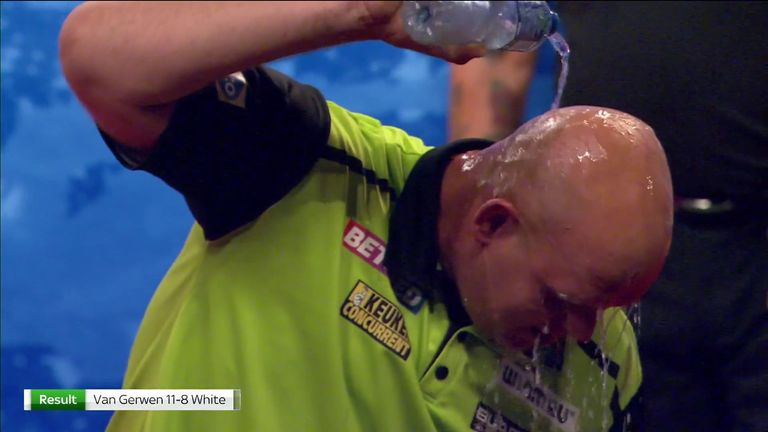 Van Gerwen says there is 'more in the tank' after making hard work in beating White on a steamy hot night in Blackpool