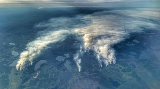 The spread of the fires is graphically clear from the air. Pic: Anastasya Leonova