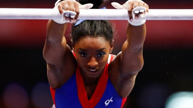 Simone Biles practises at the US Olympic trials