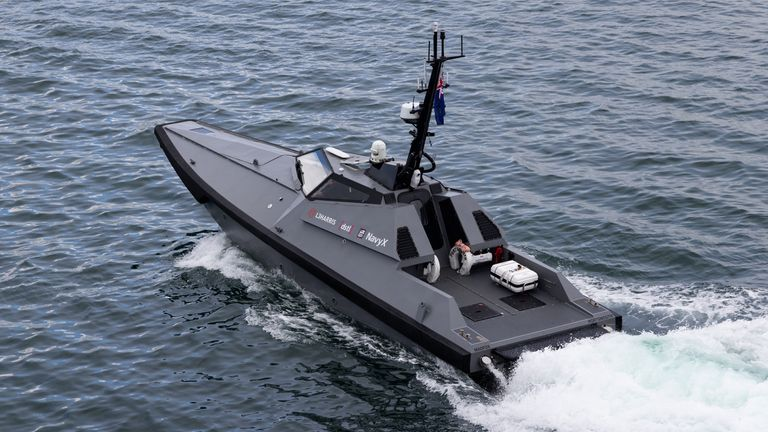 Undated handout photo of the MADFOX, unmanned surface vessel used for deception and reconnaissance, surveillance and reconnaissance (ISR)