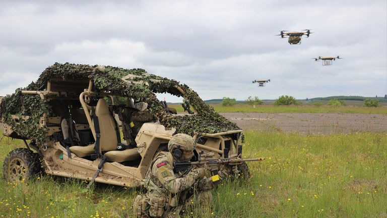 Undated handout photo of Royal Marines of 40 Commando using a Malloy TRV150 to deliver supplies to the battlefield during Autonomous Advance Force 4.0 exercises at RAF Spadeadam.