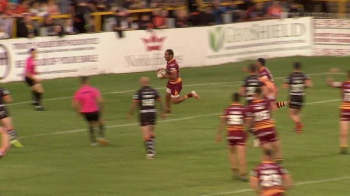 Leroy Cudjoe scored two tries as Huddersfield were comfortable winners against an inexperienced Castleford outfit