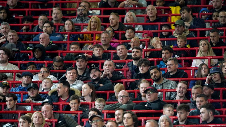 Fans in the new rail seating section made for safe standing during the pre-season friendly match at Old Trafford, Manchester. Picture date: Wednesday July 28, 2021.