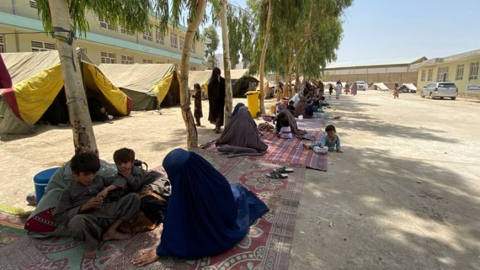 Internally displaced Afghans who fled their home due to fighting between the Taliban and Afghan security personnel, are seen at a camp in Daman district of Kandahar province. Pic: AP