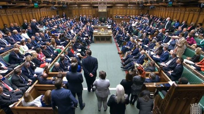 The House of Commons was packed with MPs for the first time since March 2020