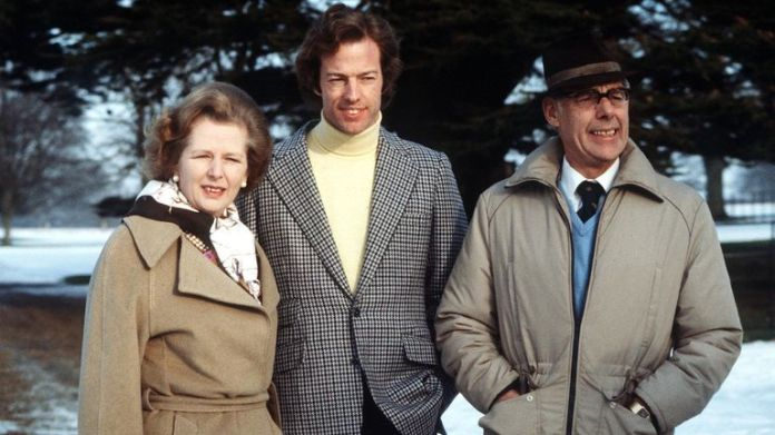 1982: PA NEWS PHOTO JANUARY 1982  MARK THATCHER REUNITED WITH HIS PARENTS AT CHEQUERS, THE PRIME MINISTER'S COUNTRY RESIDENCE IN BUCKINGHAMSHIRE. HE HAD BEEN MISSING FOR SIX DAYS IN THE SAHARA DURING THE PARIS, DAKAR RALLY. 25/08/04: Mark Thatcher - who, according to media reports in South Africa, has been arrested by South African police over allegations he was involved in a planned coup in Equatorial Guinea.