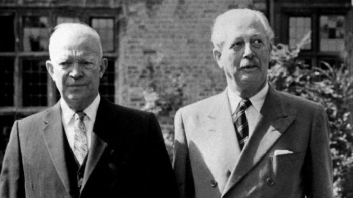 1959: President Dwight D. Eisenhower of the United States is pictured with Harold Macmillan in the grounds of Chequers, official country residence in Buckinghamshire of the British Prime Minister.