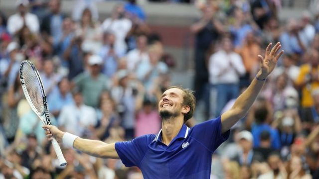 Daniil Medvedev of Russia celebrates after his match against Novak Djokovic of Serbia (not pictured) in the men's singles final on day fourteen of the 2021 U.S. Open tennis tournament at USTA Billie Jean King National Tennis Center. Mandatory Credit: Danielle Parhizkaran-USA TODAY Sports TPX IMAGES OF THE DAY