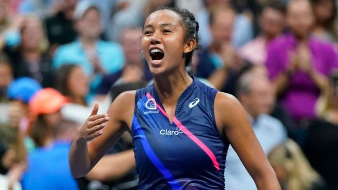 Fernandez celebrates after her match against Aryna Sabalenka