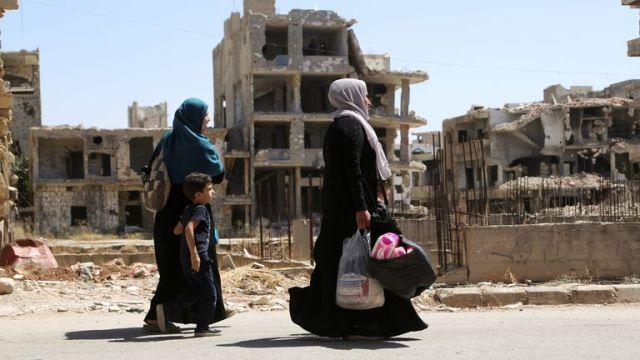 ستمبر 2021 میں درہ البلاد: شام کا بیشتر حصہ جنگ سے تباہ ہو چکا ہے۔