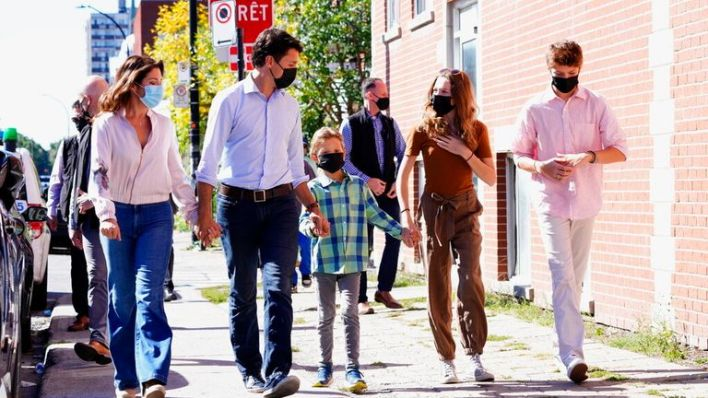 Justin Trudeau joined by wife Sophie Gregoire-Trudeau, and children, Xavier, Ella-Grace and Hadrien in Montreal
