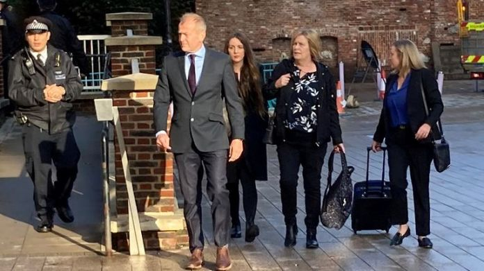 Sarah Sak (second right), mother of Anthony Walgate arriving at Barking Town Hall, London, for the long-awaited inquests into the deaths of the victims of Stephen Port. Picture date: Tuesday October 5, 2021.