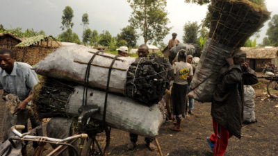 Charcoal dealers in Democratic Republic of the Congo's North Kivu province, where much of the charcoal is produced from trees in Virunga National Park.