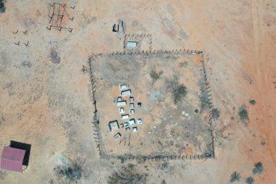 An aerial view of a traditional Wayúu cemetery.