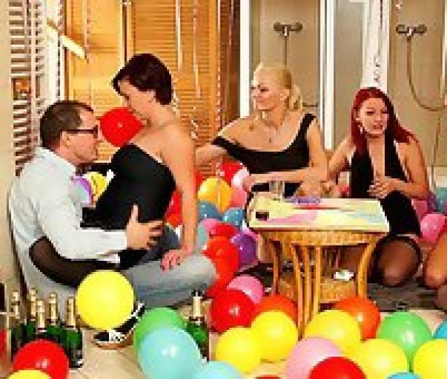 Birthday Party Becomes A Full Blown Sex Orgy With Four Busty Sluts