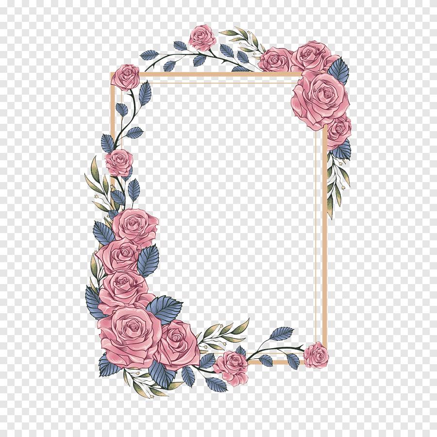 pink flowers border illustration