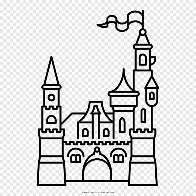 Livre de coloriage Dessin Château Art et jeu de sable noir et