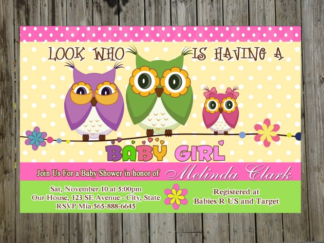 Sweet Owl Baby Shower Party Invitations For Boy Or Unlimited Prints