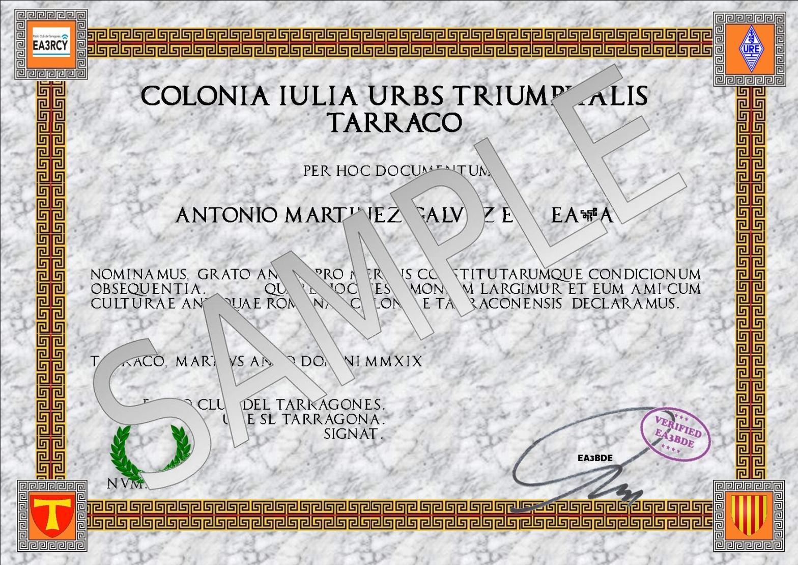 Imatge que representa un model de mostra del diploma Tarraco Triumphalis