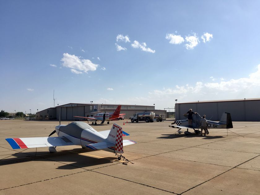 Safely arrived and tying down in strong winds at KLBB (Lubbock, TX)