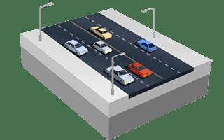 Estrada de quatro pistas em SimCity BuildIt.