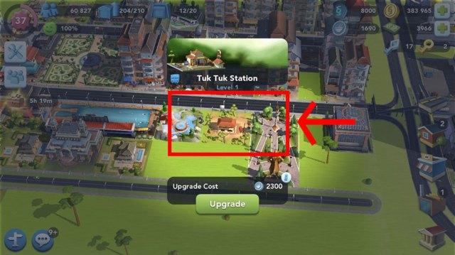 Aprimoramento de atração Estação de Tuk Tuk de SimCity BuildIt.