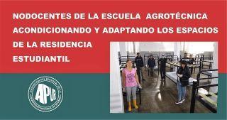 NODOCENTES DE LA ESCUELA ACONDICIONANDO Y ADAPTANDO LOS ESPACIOS DE LA RESIDENCIA ESTUDIANTIL.