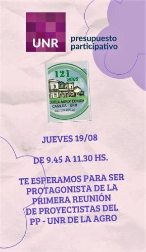 PRIMERA REUNIÓN DE PROYECTISTAS DEL PP - UNR AGRO. JUEVES 19 AGOSTO