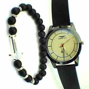 Montre Wanvi Doré avec Bracelet Viking en Boite Cadeau