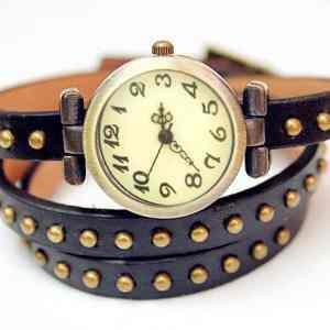 Montre Style Bracelet Cuir Noir