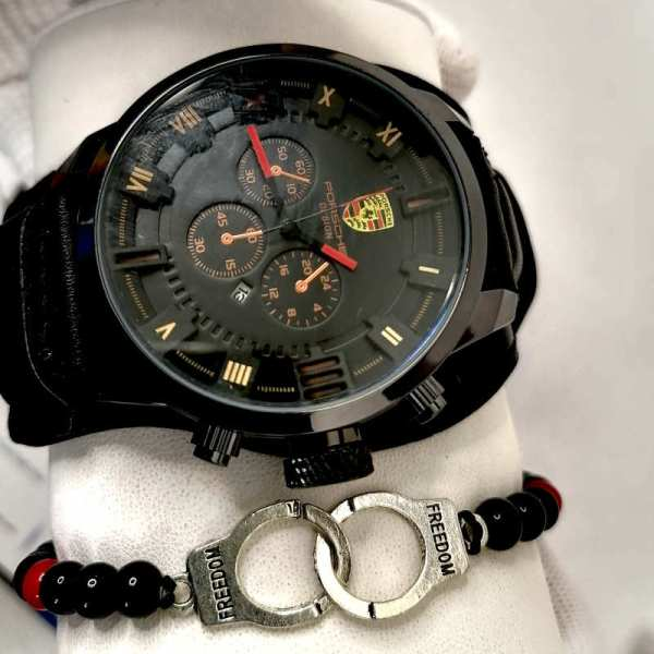 Montre Porsche Cuir Noir haut de gamme + Bracelet maroc Casabblanca rabat marrakech tanger
