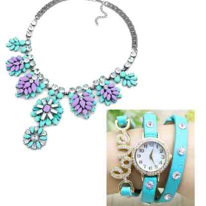 Montre Cuir Turquoise Love + collier