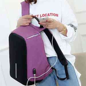Sac à dos Cartable anti-vol avec port de charge USB - Rose achat Maroc