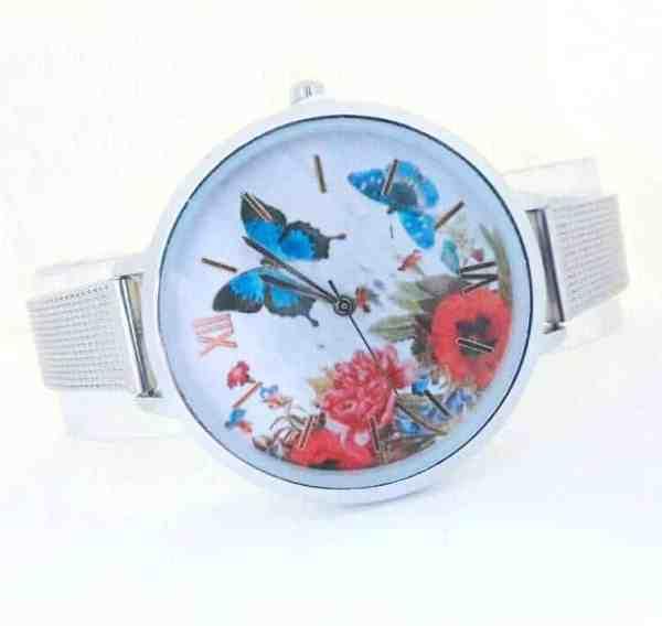Montre Papillon Argenté avec Collier Chic livrer avec Boite Cadeau