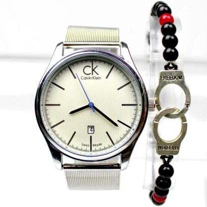 Montre Calvin Klein Argneté avec Bracelet Menotte Maroc Casablanca