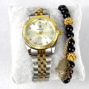 Achetez Montre Rolex Doré argenté avec Bracelet Khmissa - E Achat - Maroc