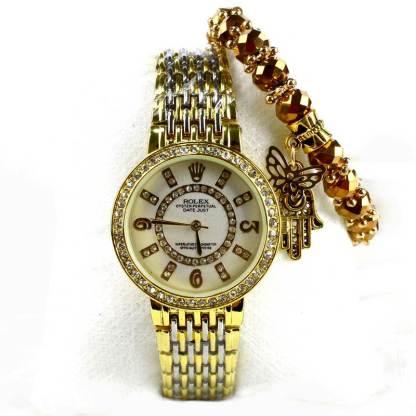 Montre Rolex Doré avec Bracelet Khmissa doré