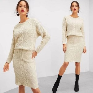 Haut en tricot mixte détail de maille & Jupe Prix Maroc